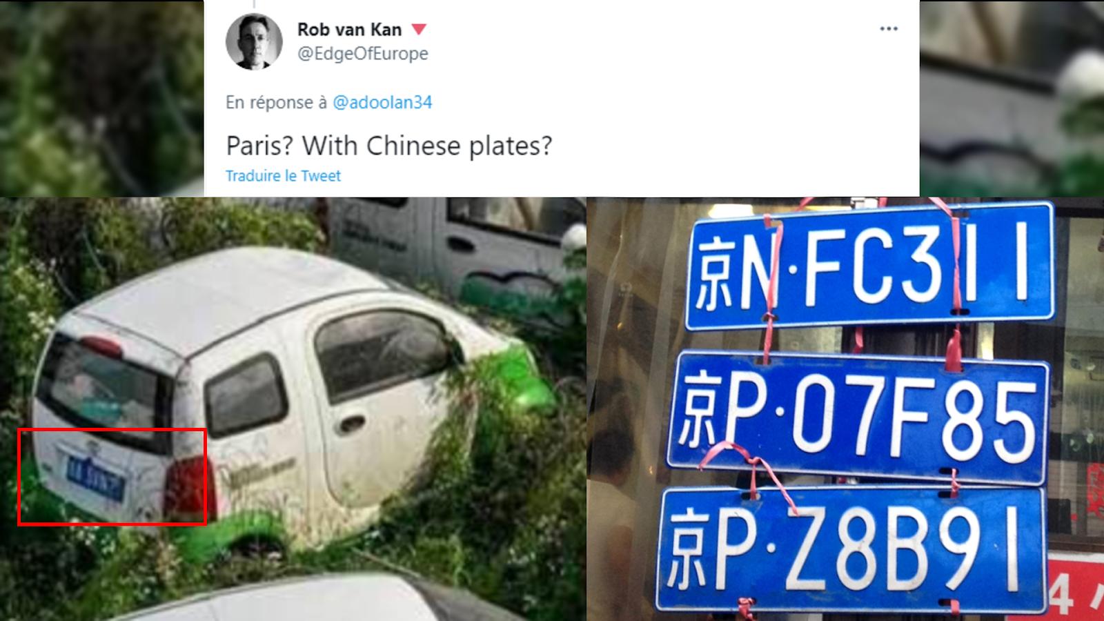 Capture d'écran des images partagées dans le tweet de @EdgeofEurope, comparant les plaques d'immatriculation visibles sur l'image virale, et des plaques d'immatriculation chinoises.