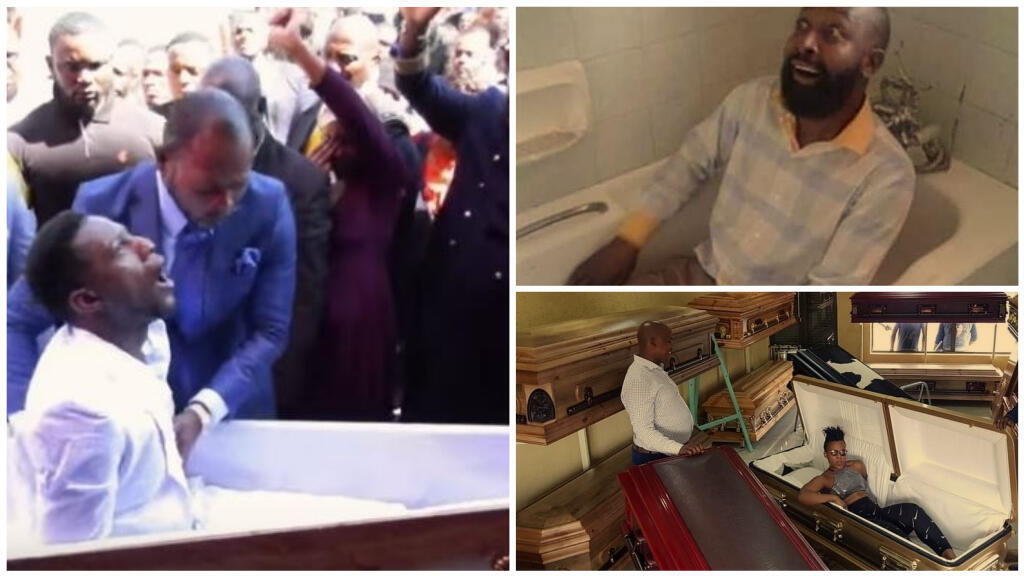 Left, a screengrab showing the alleged resurrection of a member of Pastor Alph Lukau's congregation. The images on the right were made by people who mocked Lukau and his revenant on social media. Right: photos from people mocking the pastor on social media