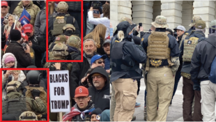 Images members of the Oath Keepers, one of the largest radical anti-government militia groups in the U.S., at the Capitol grounds and mounting the steps of the Capitol building before the Capitol siege on January 6, 2021.