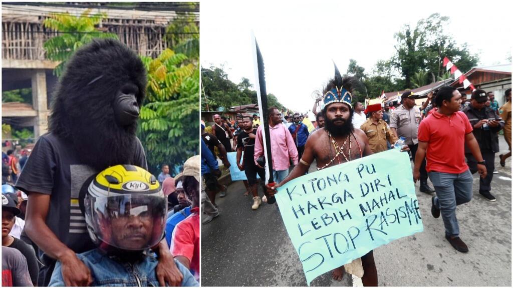 À gauche, un manifestant portant un masque de singe lors d'une manifestation à Jayapura le 19août (crédit: PepuhoEll); à droite, un manifestant brandissant un faux sabre et une pancarte antiraciste à Bintuni le 19août (crédit: Thinus Kareth).