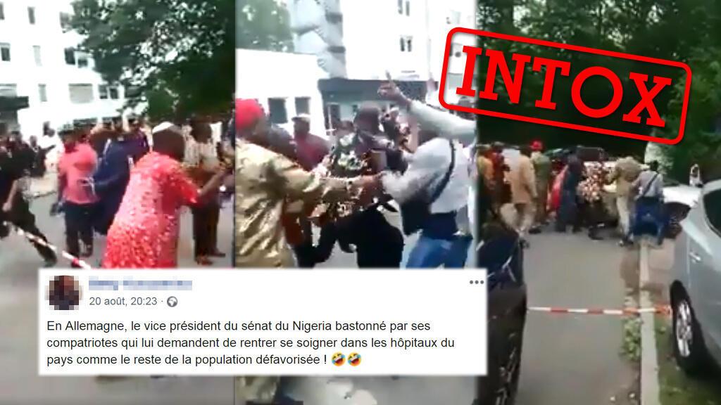 """Une vidéo prétend montrer le """"vice-président du Sénat"""" du Nigeria bastonné pour avoir voulu aller se faire soigner dans un hopital en Europe. La légende est trompeuse."""