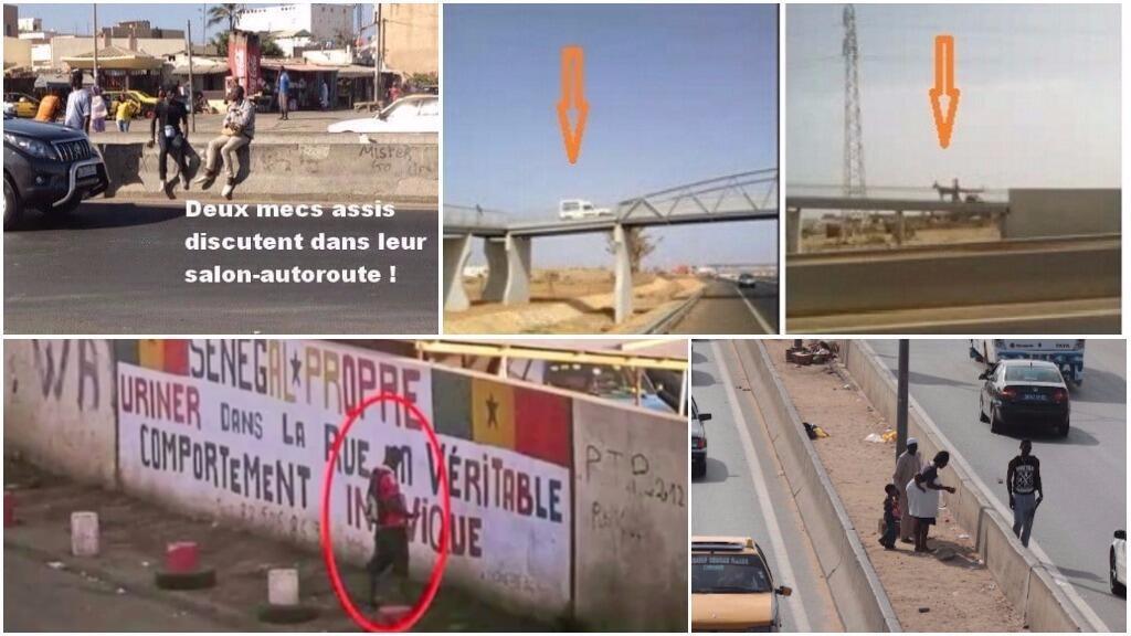 Traverser en plein milieu de l'autoroute, emprunter les passerelles avec sa voiture ou uriner sur les murs... un projet recense toutes ces incivilités à Dakar. Photos Save Dakar et Ibnou Diallo du blog Sunumbir.