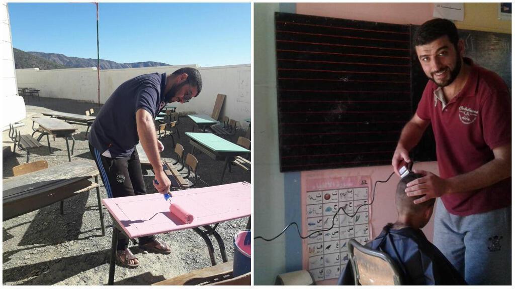Hicham El Faquih et ses initiatives à l'école du village de Tafsast. Photo Facebook.