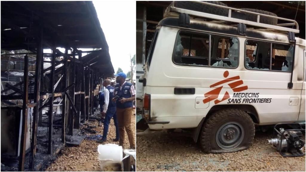 À gauche, une des infrastructures du centre de lutte anti-Ebola de Butembo et, à droite, un véhicule de Médecins sans frontières incendié. Photos de nos Observateurs Bienvenu Lutsumbi et Djiress Bakoli.