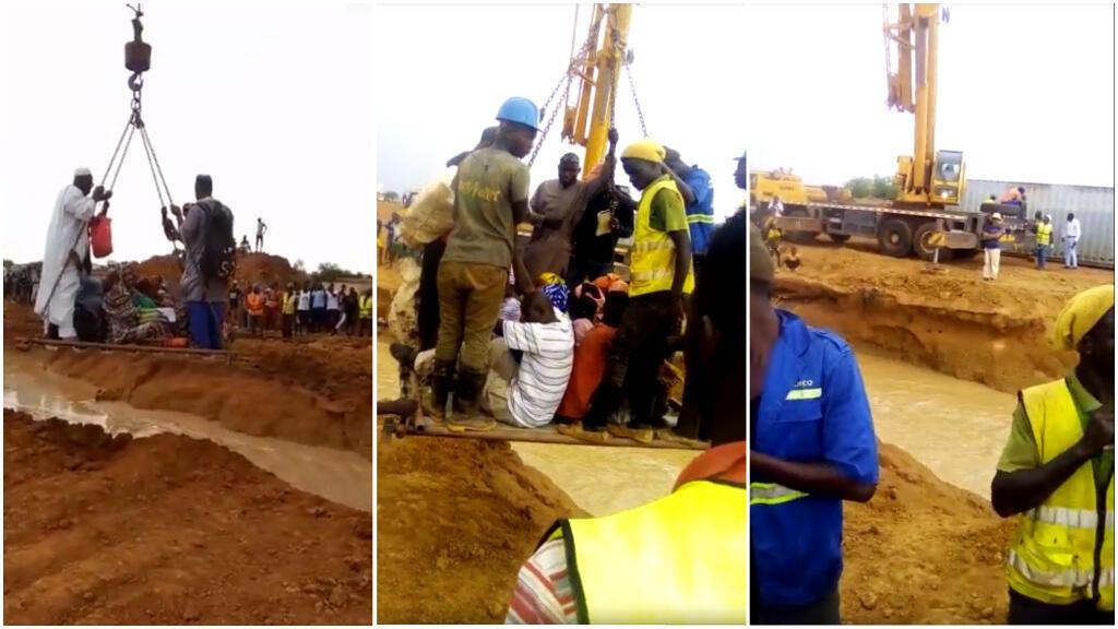 Captures d'écran de vidéos montrant des habitants des environs de Sinthiou Garba traverser une rivière à l'aide d'une grue de chantier.