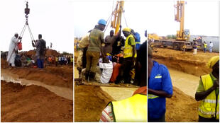 These screengrabs show people using a crane to cross a river near Sinthiou Garba.