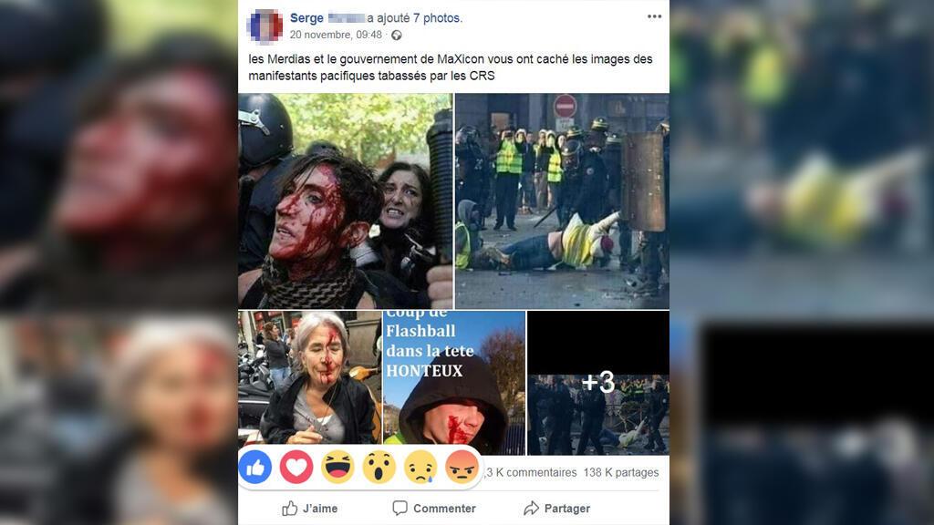 Sur ces photos, au moins deux d'entre elles n'ont pas été prises en France lors des manifestations des gilets jaunes.