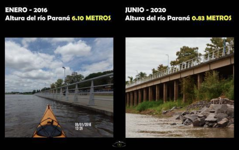 Photos taken in Paraná, in Entre Ríos province, in January 2016 (left) and June 2020 (right)