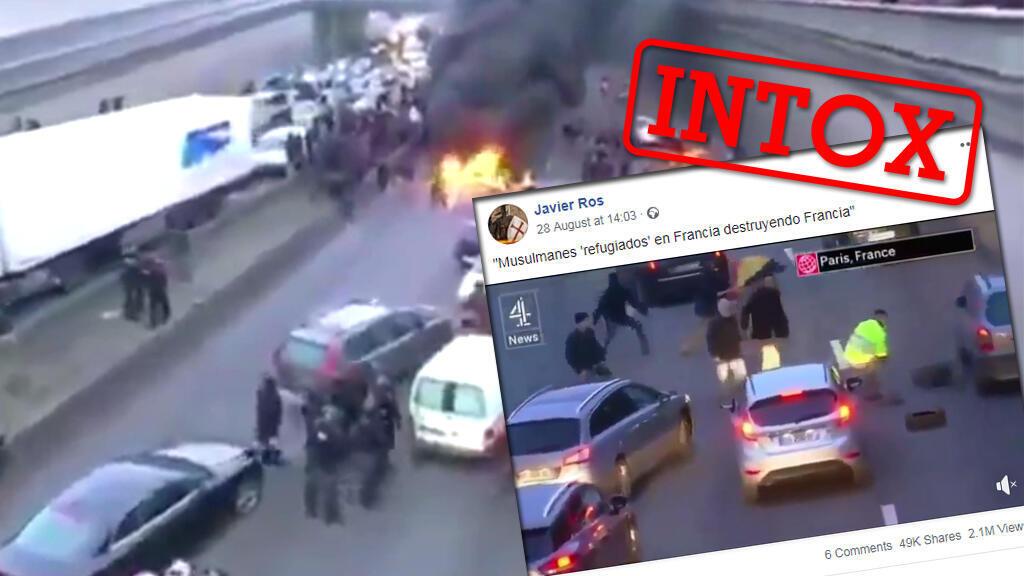 """Une vidéo montrant une manifestation en plein milieu d'une autoroute a été partagée par des internautes qui affirment qu'il s'agit de """"migrants musulmans"""". La vidéo n'a pourtant rien à voir avec cette légende."""