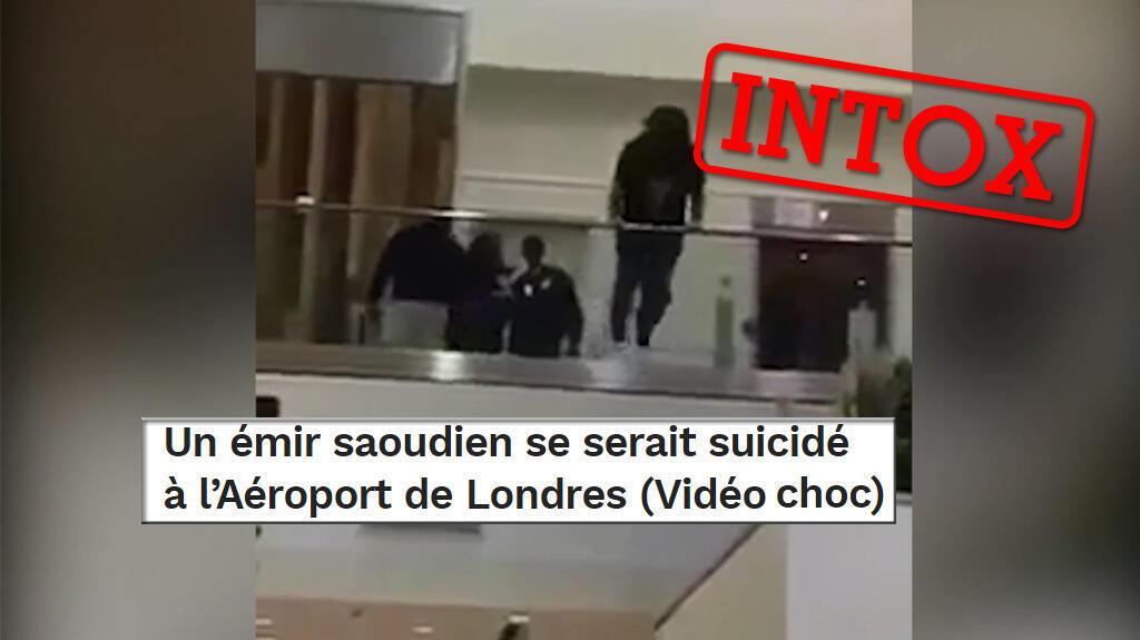 Cette vidéo montrant une personne se jeter d'une rembarde dans un aéroport a circulé affirmant qu'il s'agissait du suicide d'un prince saoudien. Voici l'histoire derrière cette image choc.