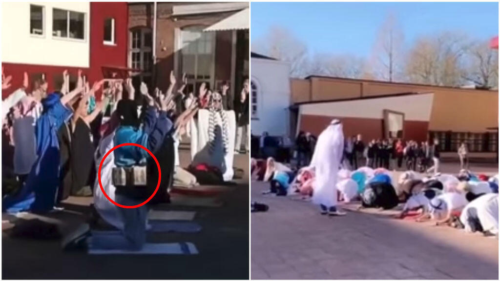Screengrabs of videos filmed at the Paters Jozefieten High School in Melle, Belgium on February 27.
