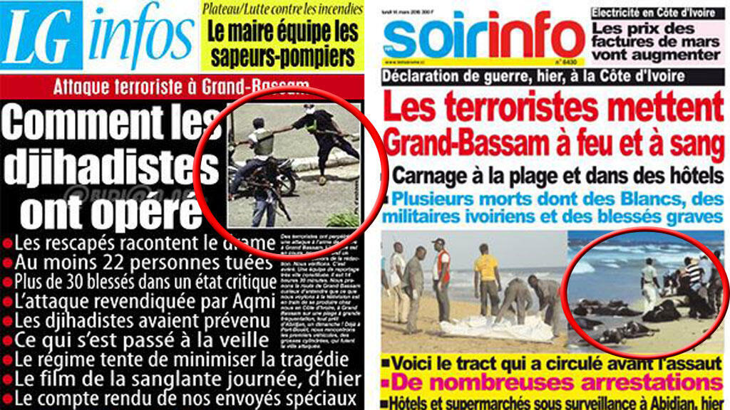 Des images qui n'avaient rien à voir avec les attaques de Grand-Bassam se sont glissées dans des journaux ivoiriens.