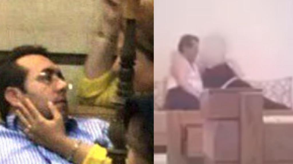 يسارا: عباس مالك زاده، عمدة صدرا، مع أحد مساعديه (الصورة). يمينا: علي محمد أحمدي وعشيقتة (صورة شاشة من فيديو مدته ثماني دقائق).