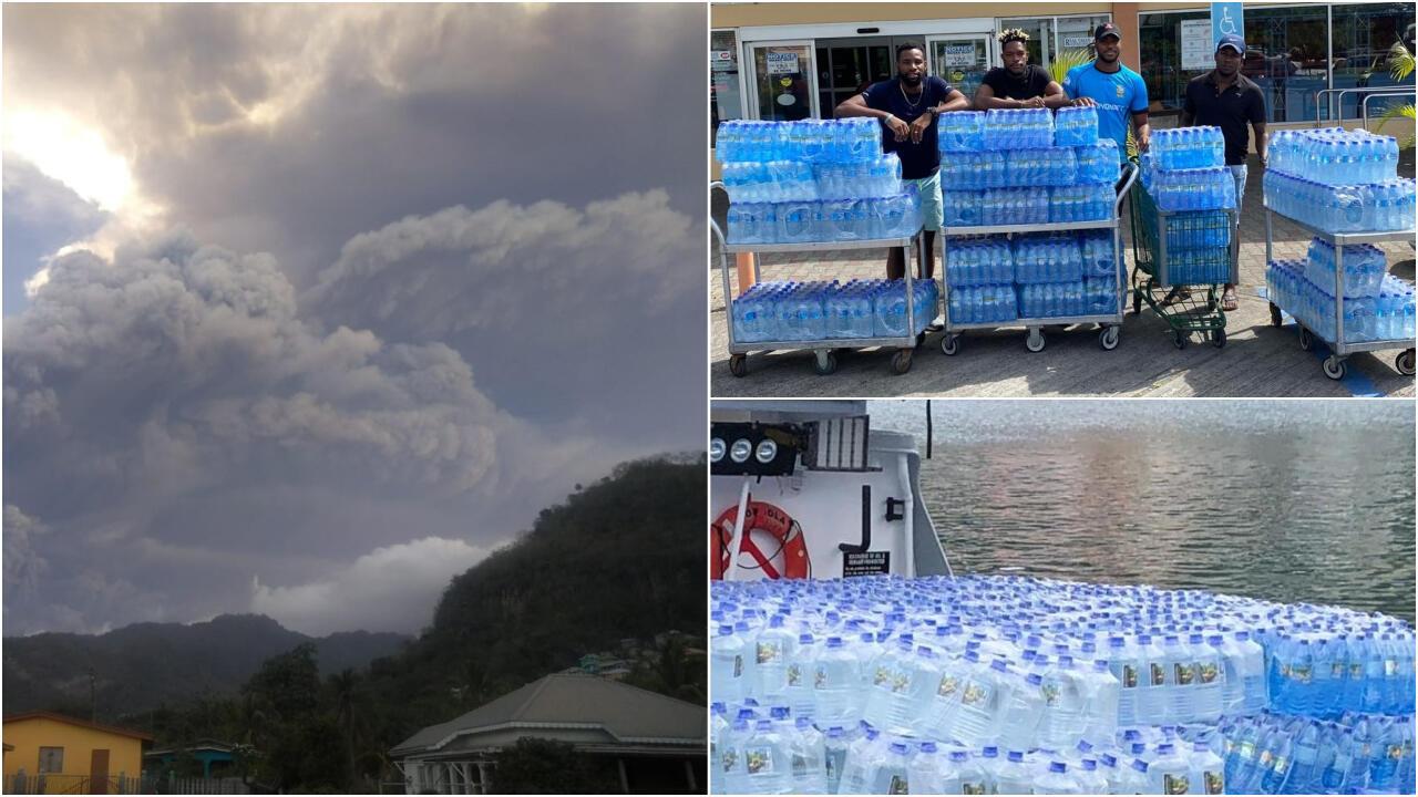 À gauche, photo d'une explosion volcanique mardi 13 avril. À droite, des photos montrant des actions de solidarité pour les habitants de Saint-Vincent.