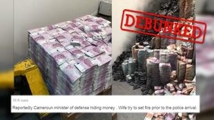 A video showing stacks of euros, some of which were burned, was widely circulated on social media in Russia, Cameroon and Haiti, allegedly proof of a seedy plot carried out by corrupt politicians. It turns out, that's all false.