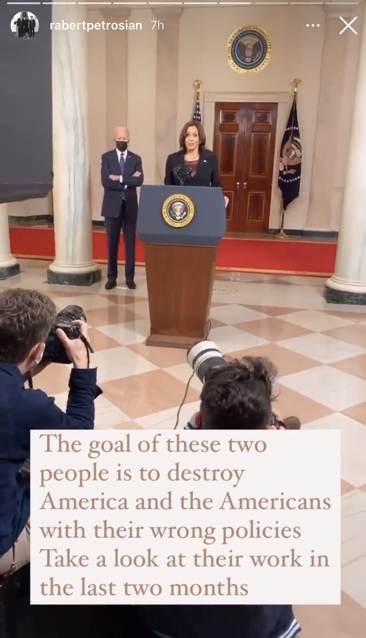 """Capture d'écran d'une story diffusée sur le compte Instagram de """"Rob Petrosian"""" critiquant Joe Biden et Kamala Harris."""
