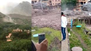 A Imlil, plusieurs vidéastes amateur ont filmé une coulée de boue impressionnante des montagnes jusque dans le village.