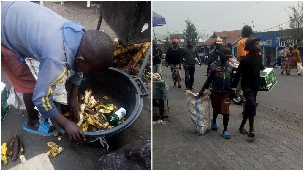 Des enfants fouillent dans les poubelles pour trouver des restes de nourriture et des petits objets à revendre dans la rue à Goma, en République démocratique du Congo. Crédit photo: Eliezaire Ushindi Mwendapeke.