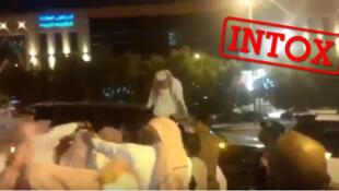 Capture d'écran d'une vidéo présentée à tort comme montrant l'agression d'une femme au lendemain de la décision du roi Salmane d'autoriser les Saoudiennes à conduire. YouTube.
