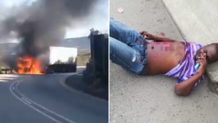 Left: screen capture of a video showing a truck on fire, Sept. 1 2019. Right: screen capture of a video of Zimbabwean truck driver Tinei Takawira after being stabbed during a protest, Mar. 25 2019