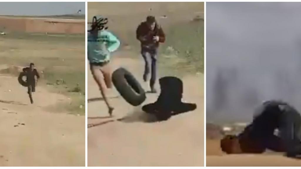Screen grabs of the video showing Abd el-Fatah Abdel Nabi hit by a bullet on March 29, 2018, in Jalabiya.