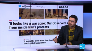 The FRANCE 24 Observers Persian Editor Ershad Alijani explains the consequences of Iran's near-total internet shutdown. Photo: screengrab from France 24 English.