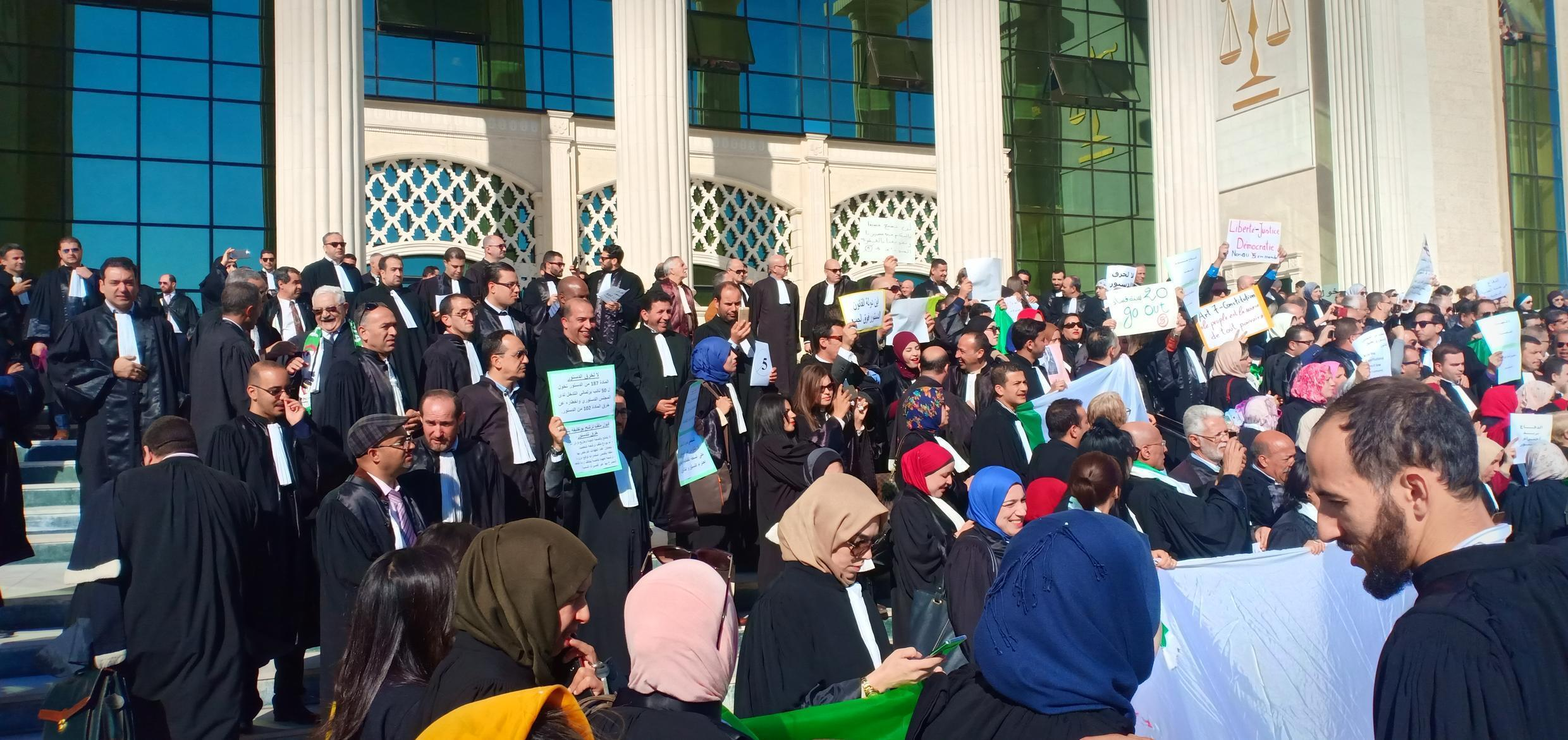A group of lawyers gathered in protest in front of the court house in Oran on March 11. (Photo by our Observer Nadjib B.)