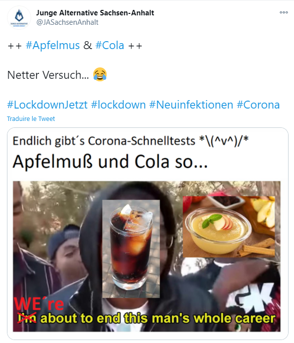 Dans ce tweet, la section jeunesse de l'AfD reprend également l'image d'un verre de Coca-Cola, utilisé dans une expérience similaire par un député d'extrême-droite autrichien.