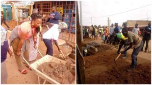 Des habitants participent au chantier citoyen de nettoyage des caniveaux à Ouagadougou, au Burkina Faso. Crédits : Julien Tiendrebeogo