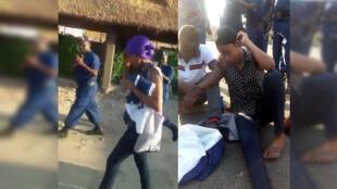 Des policiers burundais viennent d'arrêter un homme et une femme. Ils les filment, l'air amusé, pendant que les deux personnes essaient de se cacher.