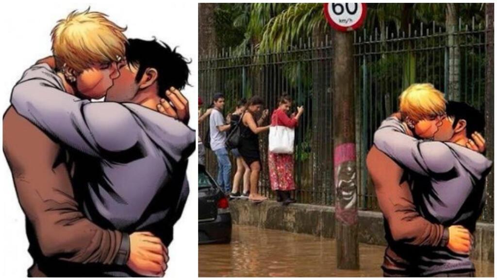 """À gauche, dessin extrait de """"Young Avengers : the Children's crusade"""" ; à droite, un des nombreux détournements sur les réseaux sociaux"""