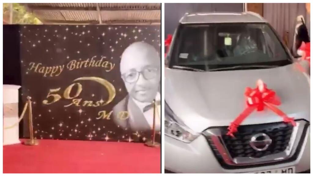 Captures d'écran des images de la fête d'anniversaire de Moussa Diawara ; à droite, une voiture reçue en cadeau