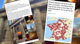 Des publications et des cartes tentent de comptabiliser le nombre d'églises incendiées volontairement en France. Le point dans cet article.