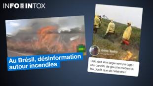 Captures d'écran de deux vidéos publiées en juin et en septembre sur les réseaux sociaux brésiliens.