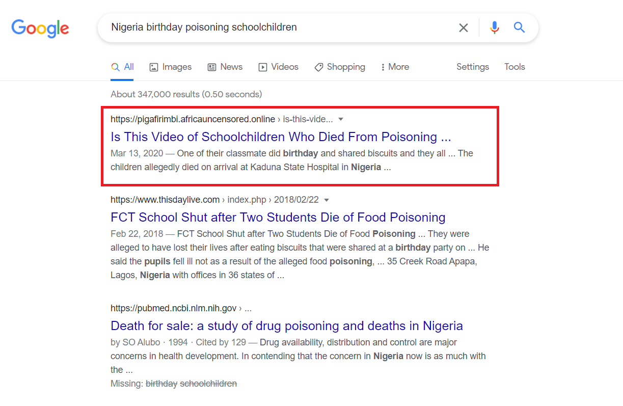 A screengrab taken on June 14, 2021 shows the results of a Google search for keywords related to the claim.