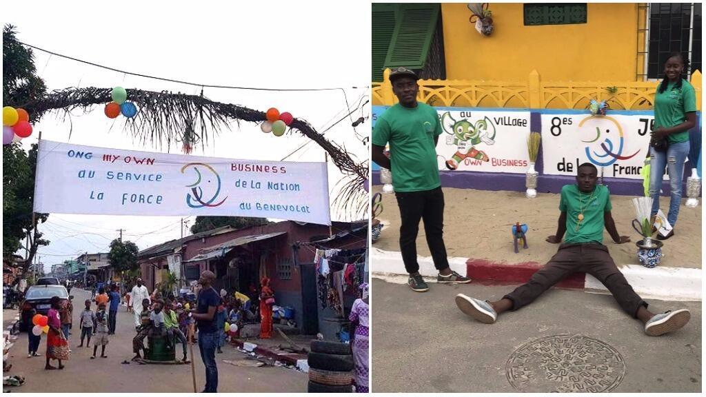 À Treichville, des bénévoles ont repeint bénévolement leur avenue pour accueillir les visiteurs des Jeux de la Francophonie.