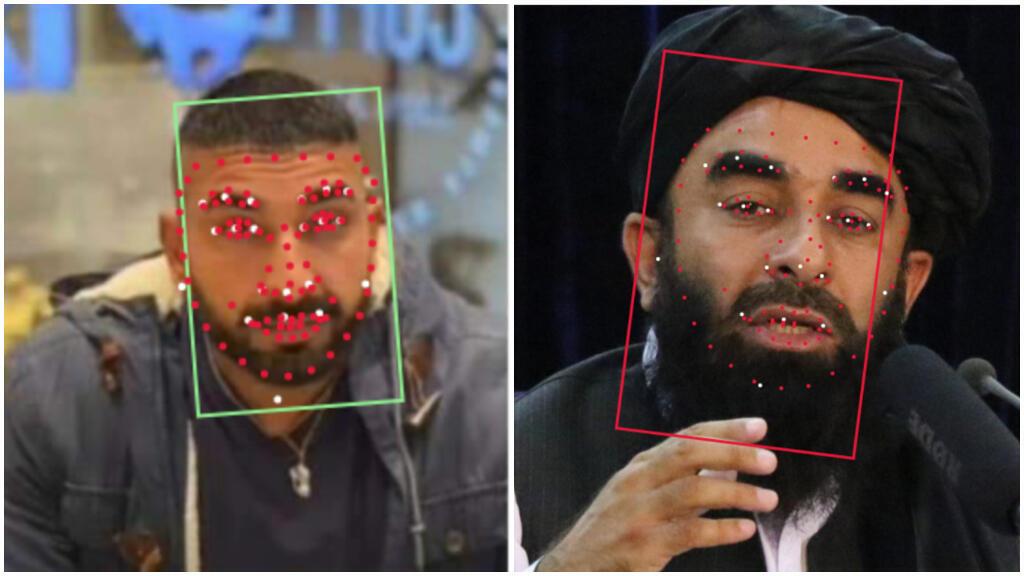 براساس ابزار تشخیص چهره Betaface ، مقایسه یک عکس معتبر از ذبیح الله مجاهد، سخنگوی طالبان (سمت چپ) با عکس یک مرد ناشناس در یک پست در رسانههای اجتماعی (سمت راست) نشان میدهد که این دو مرد متفاوت هستند. ابزارهایی مانند Betaface و Microsoft Azure از معیارهای بیومتریک برای مقایسه و تمایز چهرهها استفاده میکنند.