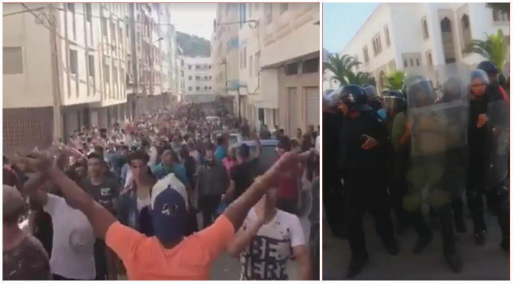 Captures d'écran de vidéos de la manifestation, publiée le 20 juillet 2017 sur Facebook.
