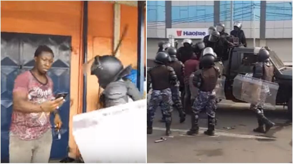 Captures d'écran des deux vidéos ci-dessous, tournées à Lomé, au Togo, jeudi 28 décembre.