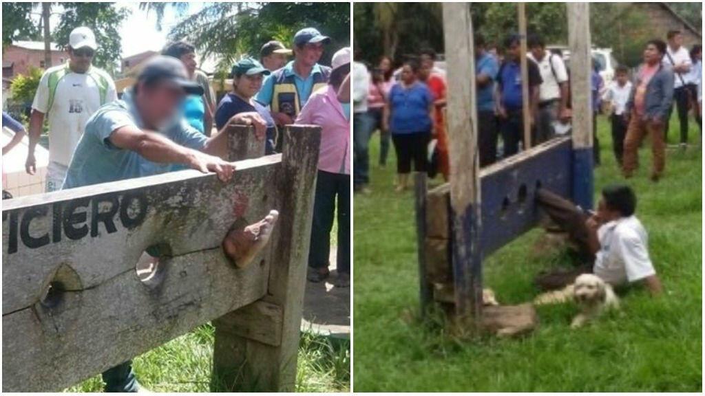 À gauche, un homme accusé de vol, puni à San Buenaventuras le 28 février (crédit : RIO TV - Red Amazónica). À droite : un maire également puni par la population à San José de Uchupiamonas, le 25 février (crédit : Daniel Salvador - Radio Fides).