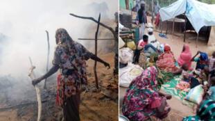 A gauche, le camp de Krindek réduit en cendres après une attaque meurtrière ayant duré trois jours. A droite, des déplacées massalits, chassées du camp, dans un centre d'hébergement temporaire à Al-Geneina, capitale du Darfour Occidental.