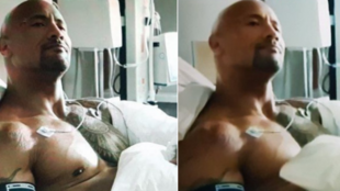 "The original scene featuring Dwayne ""The Rock"" Johnson in the 2015 movie ""Fast and Furious 7"" (left) and the censored version broadcast on IRIB TV5 on March 19."