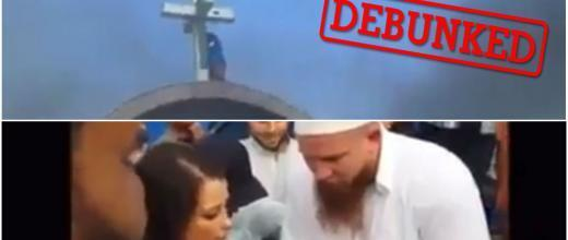 Above, a screengrab of a video of a 2013 church attack in Egypt. Below, an old video showing a conversion ceremony.