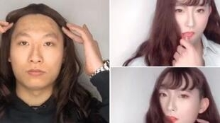 A male officer disguises himself as a woman in a video posted on the Shunde district police department's official Weibo account.