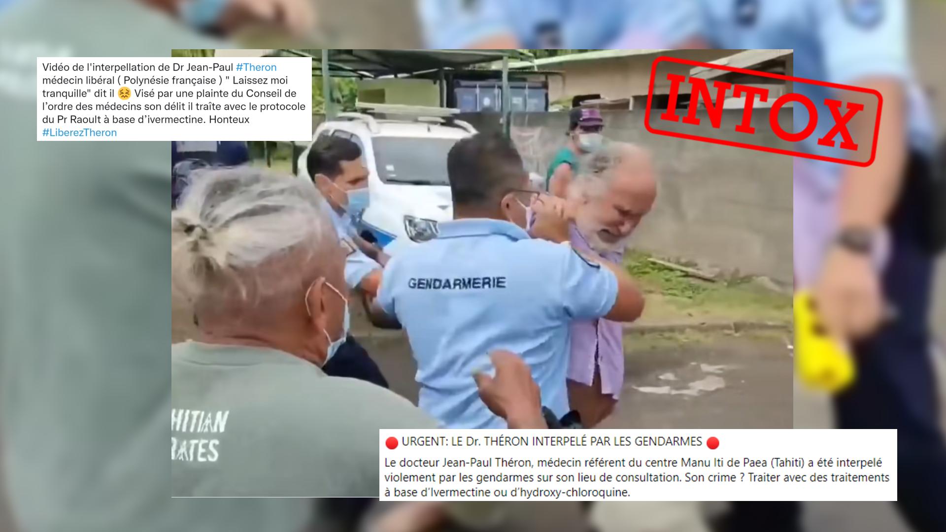 Capture d'écran de la vidéo de l'arrestation du docteur Jean-Paul Théron, en Polynésie française.