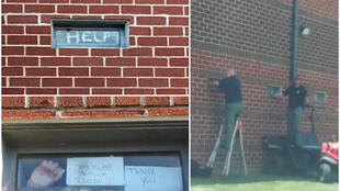 After two weeks of inmates communicating through their cell windows with activists outside, officers covered the windows with screens. (Photos from Facebook/Bradley County Incarcerated Resolutions)