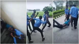 صورة شاشة من مقطع فيديو يظهر مشاجرة بين أعوان أمن خاصين وطالب إفريقي في مدينة روركي، في شمال الهند يوم 15 تموز/ يوليو 2020.