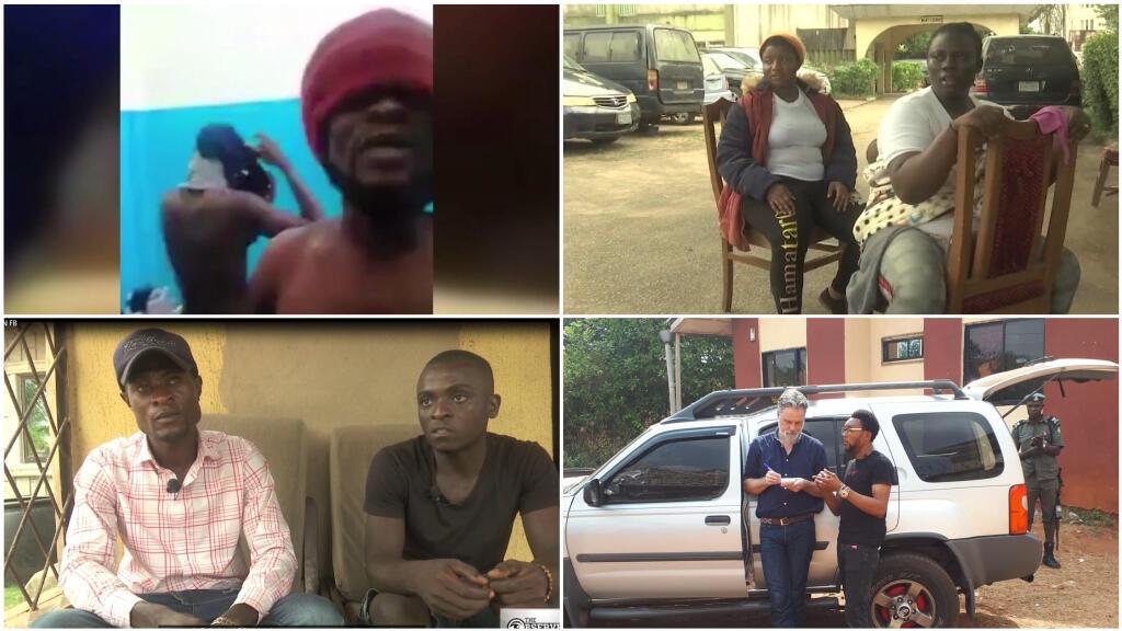 La rédaction des Observateurs de France 24 a reçu la vidéo en haut à gauche en juillet 2018. Nos Observateurs sont aujourd'hui de retour au Nigéria (en bas à droite). À gauche, trois autres migrants revenus de Libye, interrogés par notre rédaction.