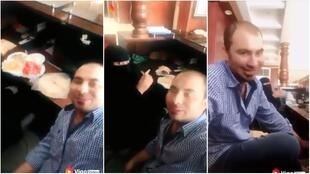 Captures d'écran de la vidéo qui fait polémique en Arabie saoudite, montrant un employé égyptien en compagnie de sa collègue saoudienne.