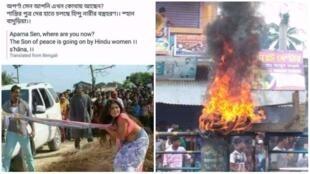 L'image qui accompagne la publication Facebook à droite est en réalité extraite d'un film. Mais des internautes l'ont utilisée pour alimenter les tensions intercommunautaires.